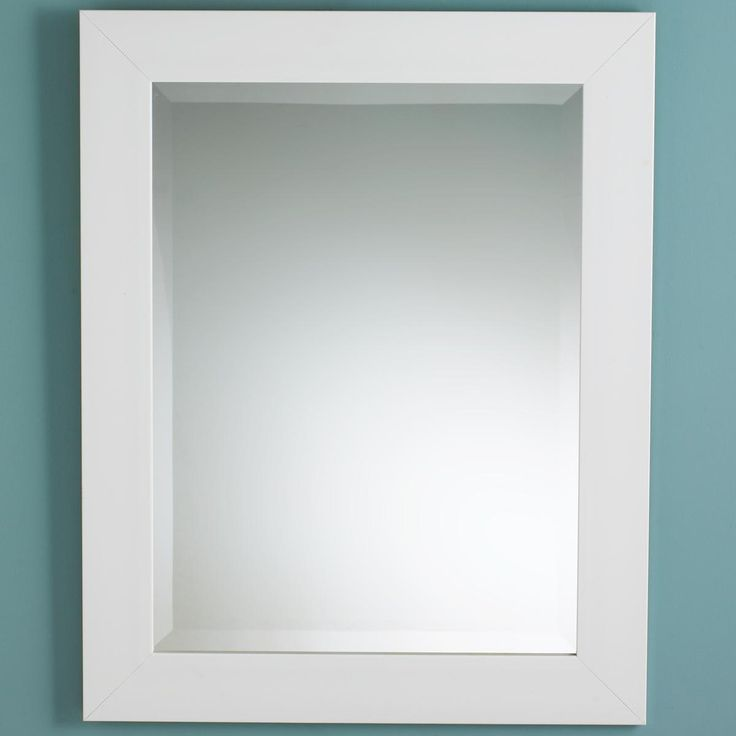 plain and sleek this white polystyrene framed mirror adds a crisp clean accent to bathrooms and kidsu0027 rooms