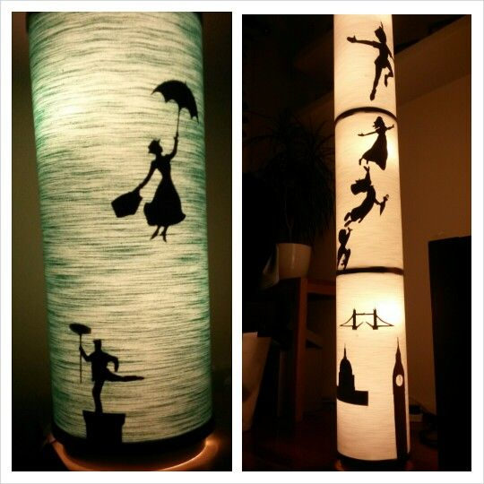 Upcycled Ikea lamps. Mary Poppins. Peter Pan.