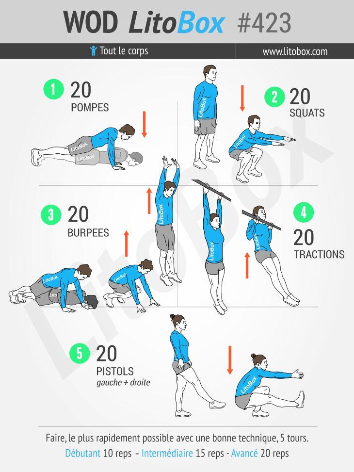 WOD Rich Froning au poids du corps. Épinglez cet entraînement pour le faire plus tard !