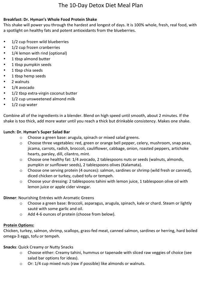 10-Day Detox One Sheet  1 tbsp chia seeds 1 tbsp hemp seeds 1 tbsp pumpkin seeds 1 tbsp almond butter 1 tbsp coconut butter 1/2 cup mixed frozen blueberries and cranberries Half lemon with peel 1 cup unsweetened almond milk