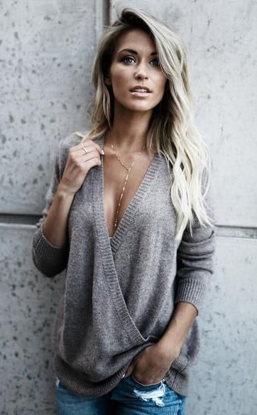 $35.99! Chicnico Stylish Deep V Neck Solid Color Loose Sweater fall fashion trend 2017