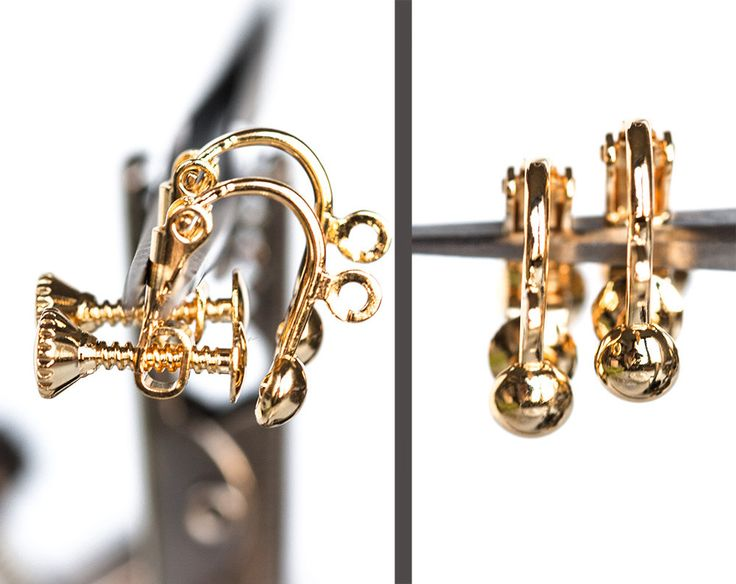 2447_Gold plated ear clips 10x13 mm, Non pierced earrings, Clip on earrings, Screw back clips, Clip earring screw, Earring findings_2 pairs. by PurrrMurrr on Etsy