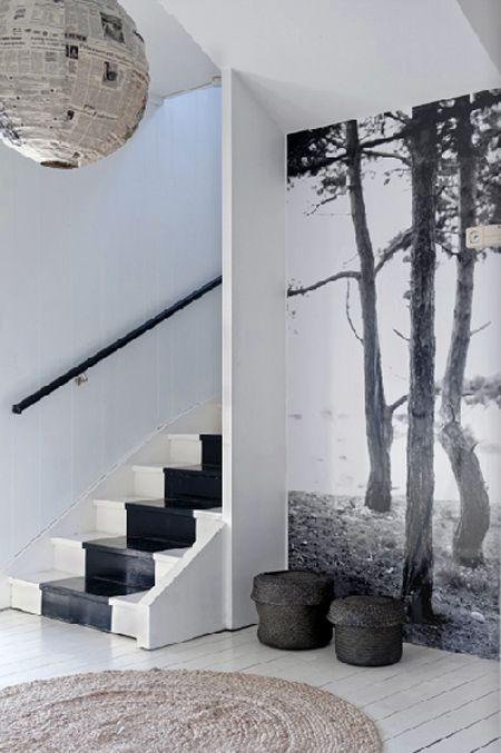 Photo Magdalena Bjornsdotter entrée avec un mur abec une impression numérique en noir  blanc wallpaper black  white