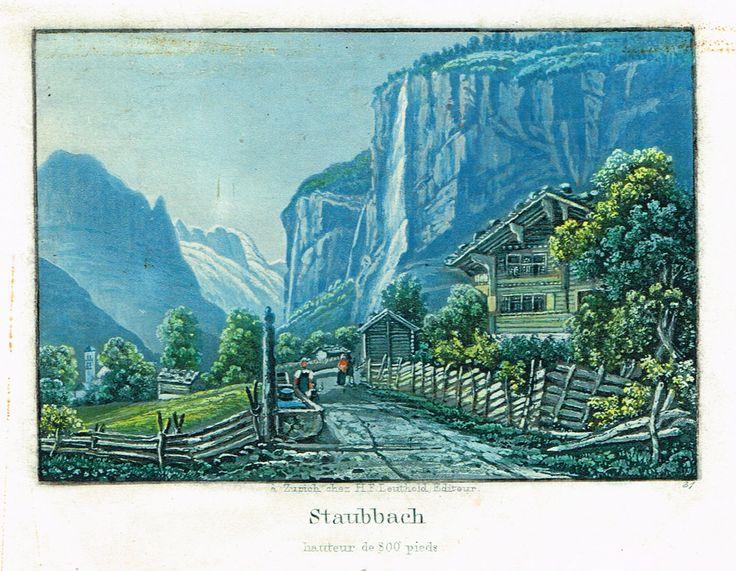 Staubbach - hauteur de 800 pieds - Aquatinte XIXe - MAS Estampes Anciennes - MAS Antique Prints