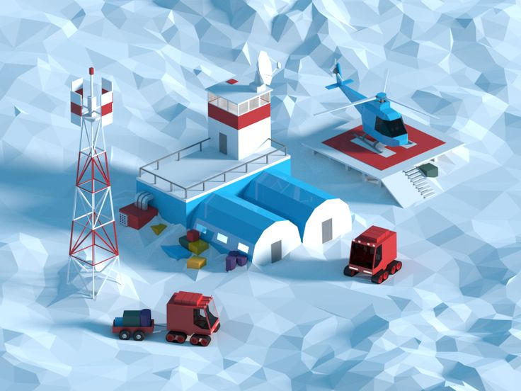 Low poly polar station