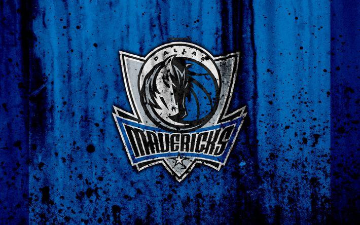 Download wallpapers 4k, Dallas Mavericks, grunge, NBA, basketball club, Western Conference, USA, emblem, stone texture, basketball, Southwest Division