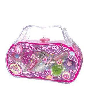 7 Days Lip Gloss Set by Pecoware. $14.99. So girly! 7 fruit-flavored lip glosses and 2 hair-bows in a sturdy acrylic carrying case. Girls can decorate the case with bonus stickers.. Save 12% Off!