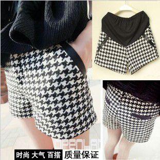Хлопок Лен ломаную клетку шерстяные шорты беременна корейской версии был тонкий большой ярдов сапоги брюки клетчатые шорты прилив - Taobao