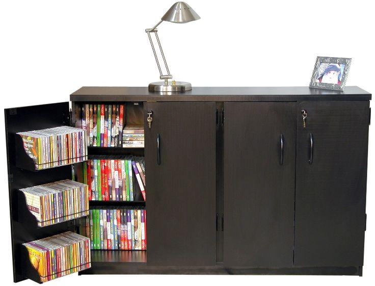 Venture Horizon Basic Double Wide CD DVD Media Storage Cabinet In Multiple  Finishes   Oak