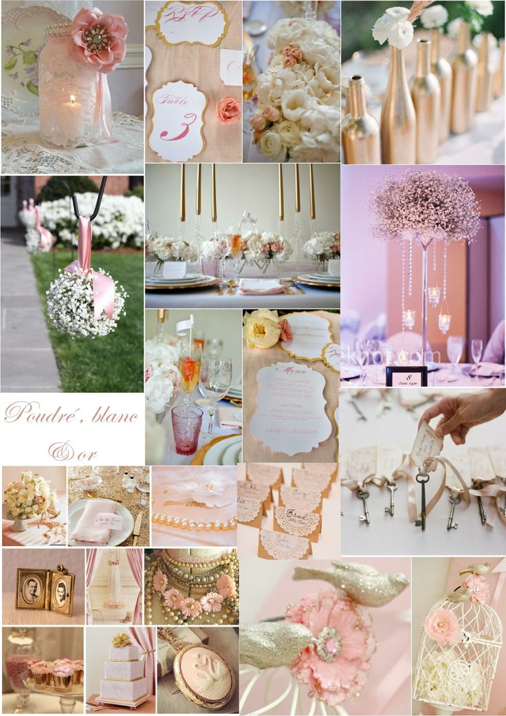 inspiration mariage vintage romantique poudr rose et dor gold pink blush vintage romantic. Black Bedroom Furniture Sets. Home Design Ideas