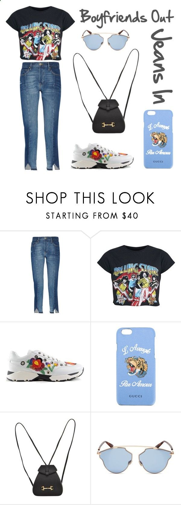 Ex boyfriend Jeans by fkathim ❤ liked on Polyvore featuring Frame, Philipp Plein, Gucci and Christian Dior