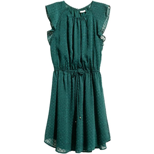 Dress with frilled sleeves 3.199 RSD via Polyvore featuring dresses, shirred dress, green ruched dress, flounce sleeve dress, frill sleeve dress и knee length dresses