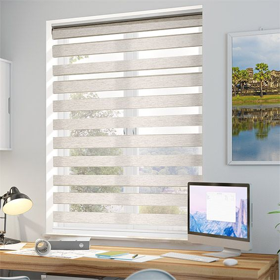 In This Enjoy Vision Natural Blind Lightly Textured Horizontal Stripes Alternate With Sheer Horizontal Strips
