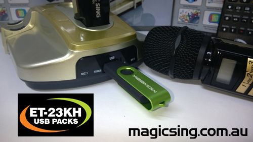 Digital Song Packs for the Magic Sing Karaoke System ET-23KH lots of packs to choose from. Ready to plug and sing!