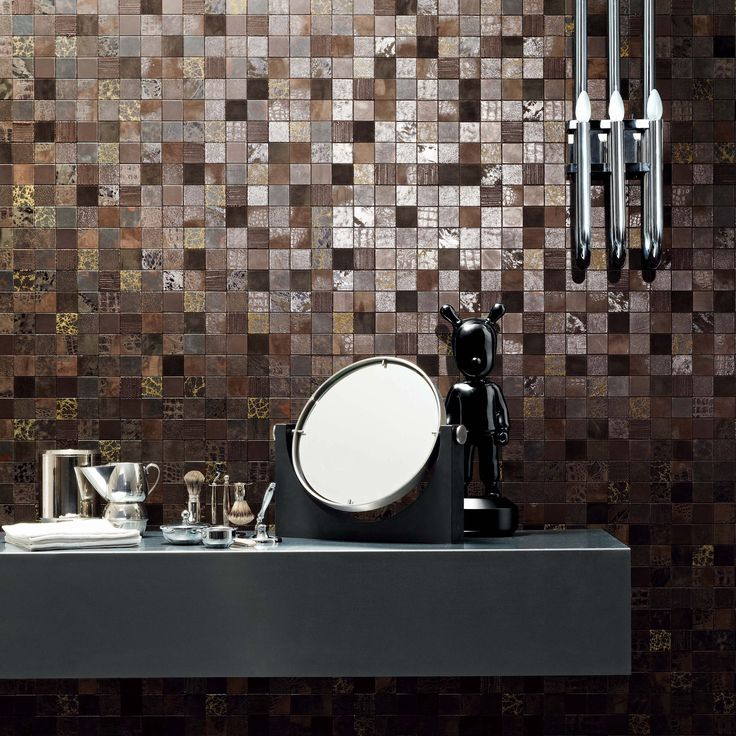 StudioArt Collection: Texture marrone 5x5cm A Mosaic leather collection for an unusual style #leather #design #architecture #leathewall