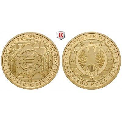 Bundesrepublik Deutschland, 100 Euro 2002, Einführung des Euro, nach unserer Wahl, A-J, 15,55 g fein, st, J. 493: 100 Euro 15,55 g… #coins