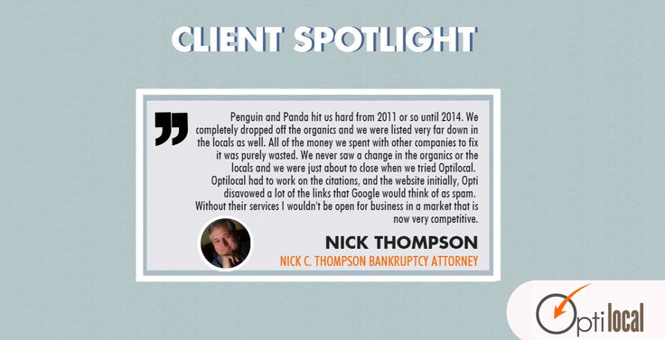 Nick Thompson, а bankruptcy #attorney in Louisville, KY shares his story of how his #localbusiness website was penalized by Google's Penguin and Panda algorithms and how after 6 months of hard work by our team, the penalty was lifted and his website was back on page #1 on Google for 4 of his main keywords.  If you need help to keep up with all the #SEO changes, schedule a free consultation and see how our team can take care of your #LocalSEO strategy.