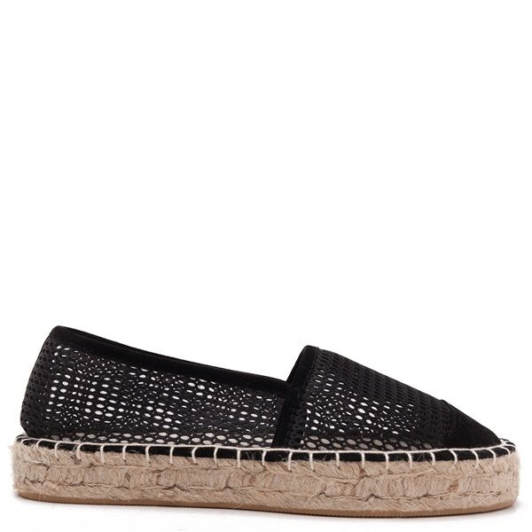 Mesh espadrilles in black colour with textile toe.
