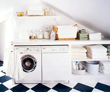 Tucked Away Lundry Room  Perfect Angle  Make use of any available space. Here, the awkward space below the attic eaves or under the stairs is perfect for a washer and dryer. Add built-in shelving in various sizes for extra storage.