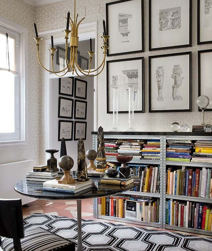 Inside an Apartment That's Black and White and Chic All Over// marble obelisks: Libraries, Wall Decor, Ink Drawing, Frames Pictures, Interiors, Living Room, Book Shelves, Architecture Drawing, Art Wall