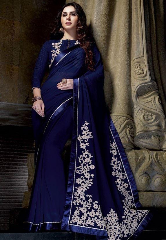 Navy Blue Chiffon Indian Part Wear Sarees Online Fashion