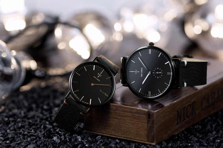 Nick Cabana Watches - Noir Raven 36 & Talisman Black.   Clean, minimalistic black watches with leather straps. White and rose gold details. Perfect Christmas gift for him & her.