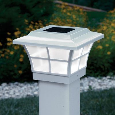 "Prestige Solar Powered Lighted Post Caps (White) As night falls, a photocell automatically lights the Post Caps casting a subtle glow. Perfect for decks, patios, mailboxes and fence posts--no wiring required. Prestige Post Caps are available in white PVC (vinyl). They measure about 7""w x 7""l x 5""h, and includes 3 1/2"" x 3 1/2"" adapter and mounting screws for 4"" x 4"" post."