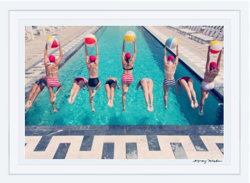 Dive into a retro-chic summertime scene with the iconic Aqua Glam series displayed in your space. Shot on location in sunny Los Angeles in the famous Annenberg pool, SUMMERTIME SPLASH is an ode to the iconic Aqualillies. Gray shares, synchronized swimming combines the essence of a day at the pool and the vintage glamour of old Hollywood.