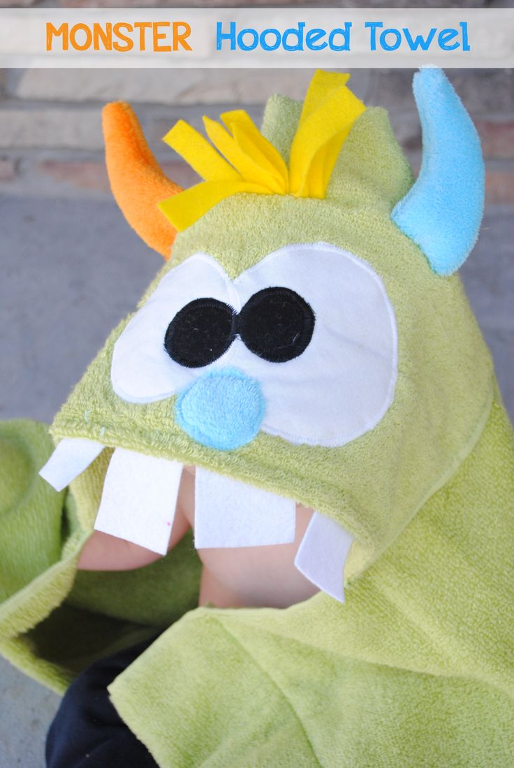 How to Sew a Monster Hooded Towel by CrazyLittleProjects.com #monster #hooded towel