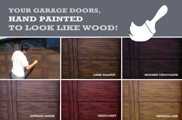 Get your garage door hand painted to look like wood!  So many colors to choose from!  @unrealgaragedoors are the best!
