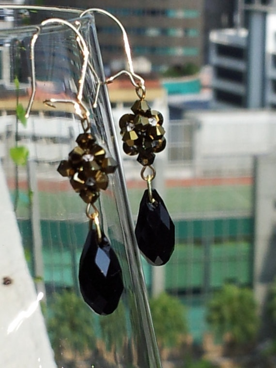 Rockstar Swarovski black and gold drop earrings by SandyYuDesign, $32.00