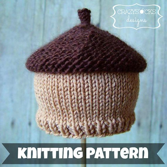 Knitting Pattern For Acorn Hat : Acorn Beanie KNITTING PATTERN - autumn hat Kid, Knitting ...