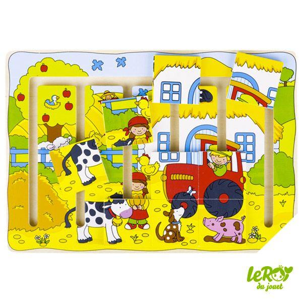 Puzzle à pousser notre ferme en bois Leroy du jouet