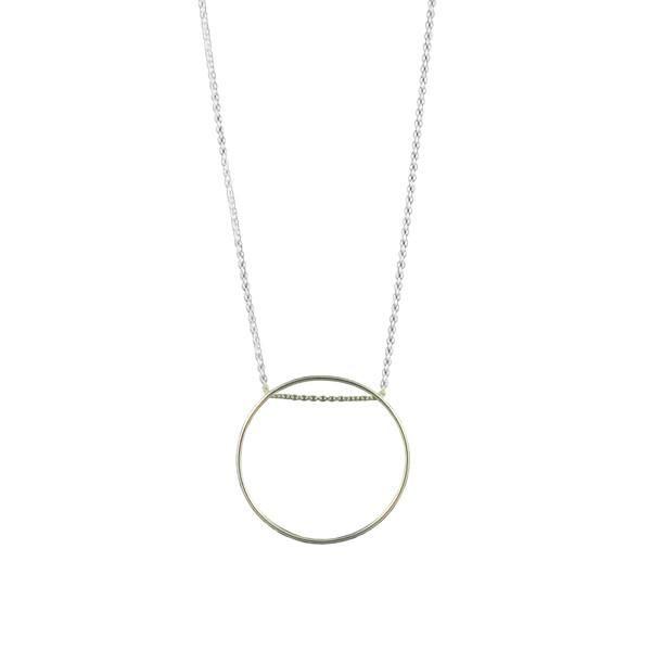 Esther Large Open Circle Necklace in Mexican 925 Sterling Silver by Ichu