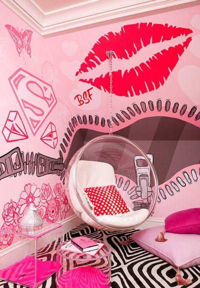 Personalized, custom pink graffiti wall mural by Eric Elms | Featured in SuperStrata's Walls Surround You blog