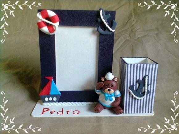 Porta Retrato em MDF - Ursinho Marinheiro Ursinho em biscuit Colocamos o nome da criança R$ 45,00