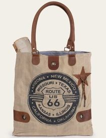 Route 66 Stonewashed Canvas and Soft Leather Tote Bag