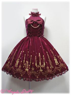 Radiant Candlelight Halter Neck JSK (2013) in wine by Angelic Pretty. Do like this too