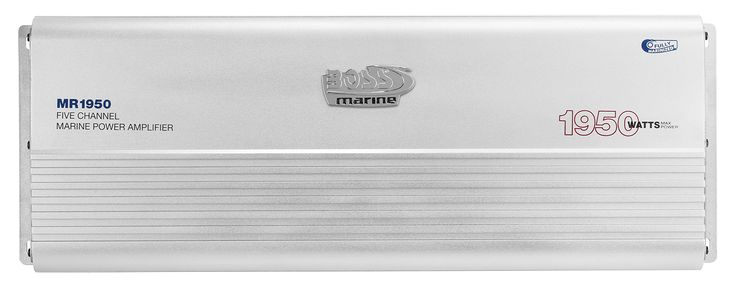 BOSS AUDIO MR1950 Marine Weather Proof 1950-Watt Full Range, Class A/B 2-8 Ohm Stable 5 Channel Amplifier with Remote Subwoofer Level Control. Weather Proof 1950 W MAX Power, 5 Channel 225 W X 4 RMS @ 2 ohm 113 W X 4 RMS @ 4 ohm 450 W X 2 RMS Bridged @ 4 ohm 563 W X 1 RMS 5th Ch @ 2 ohm 281 W X 1 RMS 5ht Ch @ 4 ohm. Full Range, Class A/B, MOSFET Power Supply. Low Level Inputs. Fixed High Pass Crossover, Variable Low Pass Crossover, Variable Bass Boost. Remote Subwoofer Control. 6 Year...