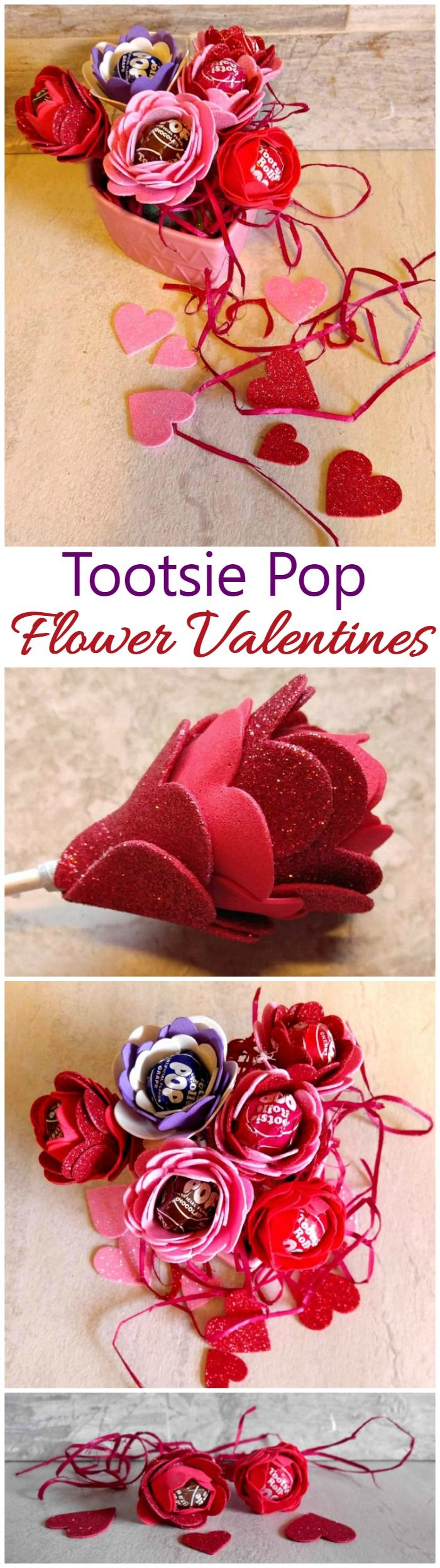 These Tootsie Pop Flower Valentines are as