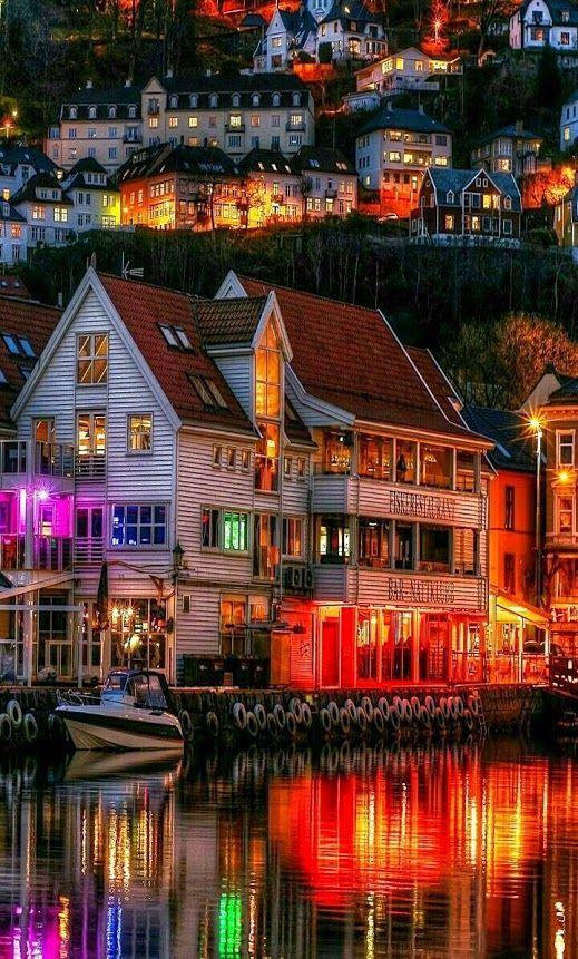 Beautiful night view of Bergen, Norway.