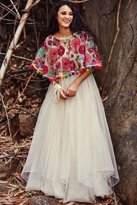 Chiffon Cape Lehenga  Product Code:YD2670005  Price       :4,629 Rs. Material    :Chiffon Color	    :White Blouse Color:White Work	    :Embroidery #capedress #flaredgown #colourfulembroidery #instalike #mumbaigram #onlineshopping #ninecolours #hurryup