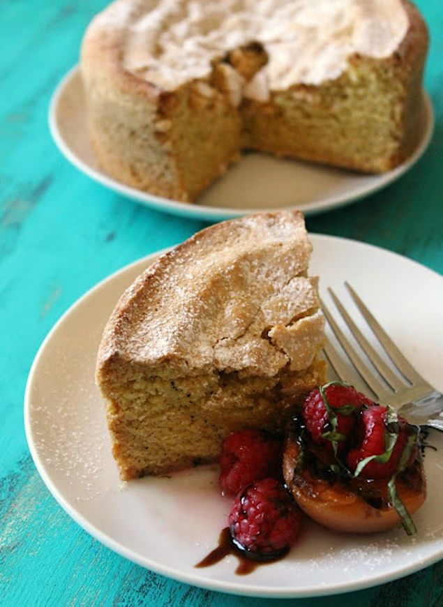 Olive Oil Polenta Cake with Grilled Apricots and Berries
