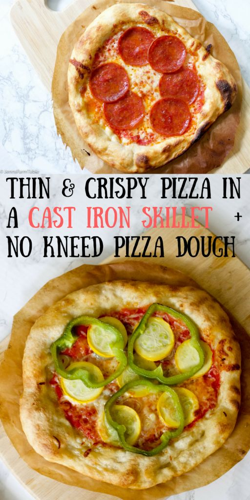 Use your cast iron skillet as a Pizza stone and you will get a perfect thin & crispy crust. Recipe for homemade no-knead pizza dough. #pepperonipizza #veggiepizza