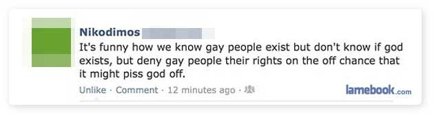 Lamebook – Funny Facebook Statuses, Fails, LOLs and More – The Original » Support Gay Rights