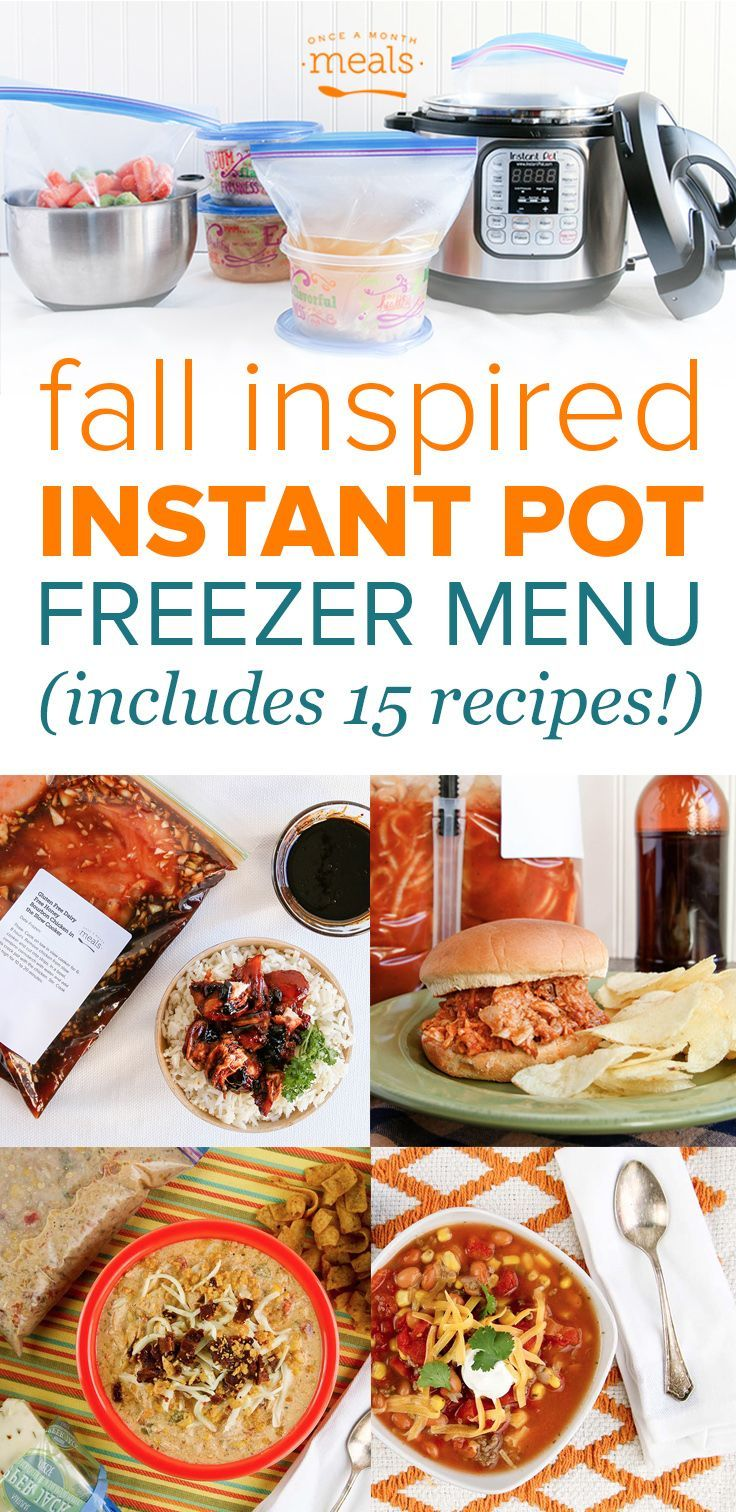 15 Fall Instant Pot Freezer Meals! Each recipe is doubled for a month of pressure cooking from frozen!
