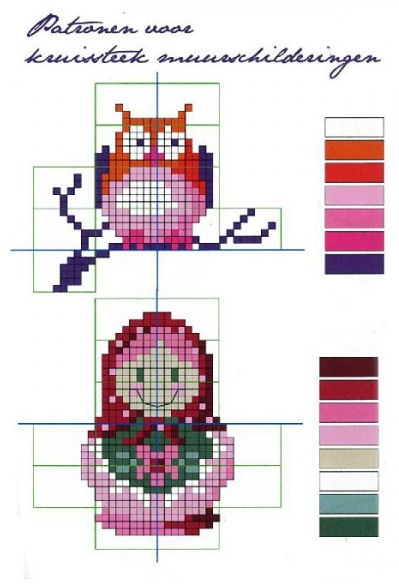 Free Matryoshka and Owl Cross Stitch Chart or Hama Perler Bead Pattern