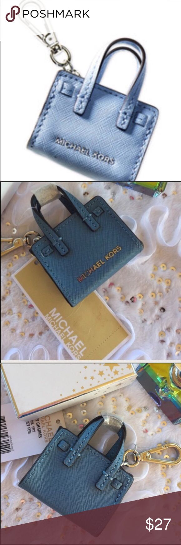 """Michael Kors Sky Blue keychain Link it onto your keys or your handbag to store coins or pills and add a touch of style. **Color is Sky** • Approx. 2.5"""" (L)  2.25"""" (H) • Scratch Resistant Saffiano Leather  Feel free to make an offer using the offer feature- OR- bundle your likes and I will send you an offer with an exclusive discount!I • No trades, smoke free home. Thank you for stopping by my closet!! Michael Kors Accessories Key & Card Holders"""
