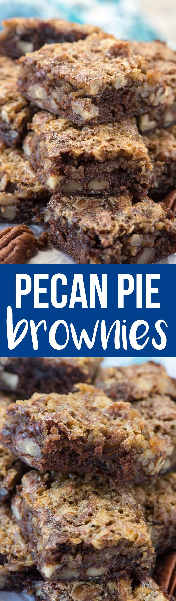 Pecan Pie Brownies are an easy way to have your pecan pie and your brownies too! These are great for a party or just because you love gooey chocolate brownies and the perfect pecan pie! via @crazyforcrust