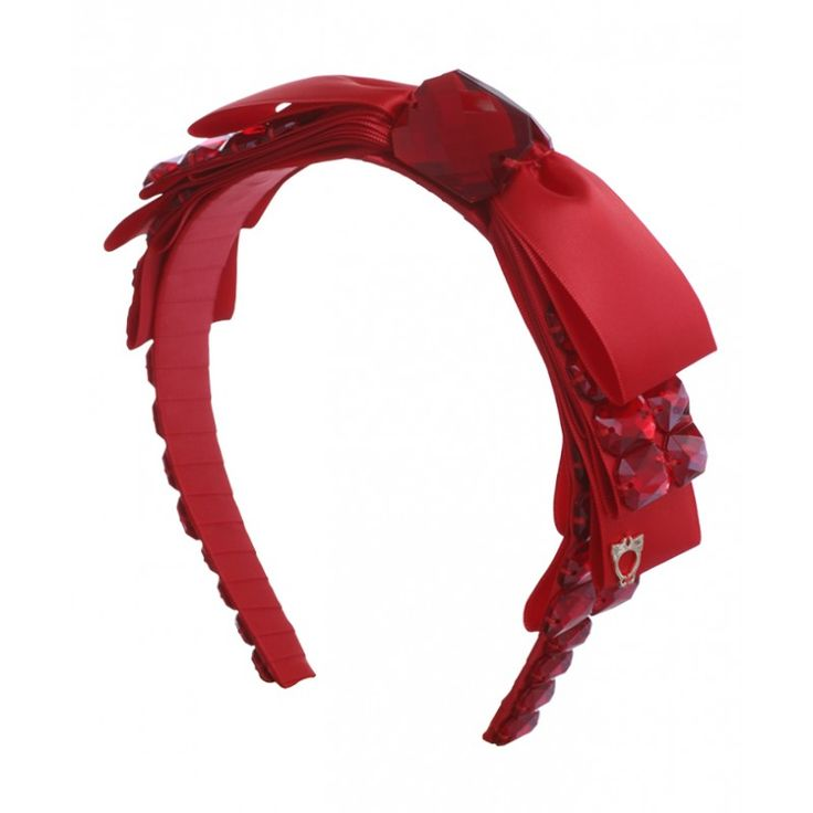 Sereni & Shentel: Krysta- Beautiful Big Bow Bejewelled with Stones - Red. She is big, loud and oh so fabulous. Turn heads with this! Six layered bows with gems left, right and centre. Other colours available. This headband has a pair of combs hand sewn for a snug fit.  #gabianona #hairfashion #happyhead #serenishentel